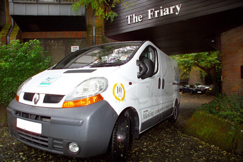 Active Technology van outside The Friary on Rickfords Hill in Aylesbury